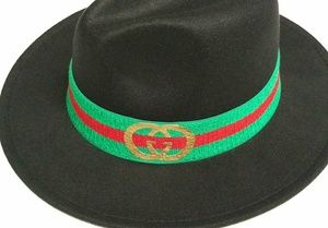 Black Fedora(Unisex) Red Brim with Pinched Crown